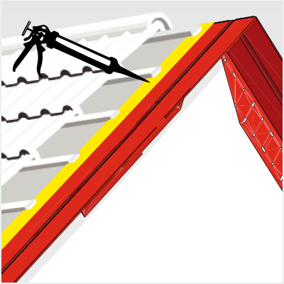 Pose du mastic pour étanchéifier la prolongation de toiture pignon